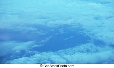 View from airplane of clouds