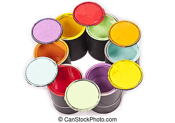 Paint Can Color Wheel - Rainbow colored paint cans in a...