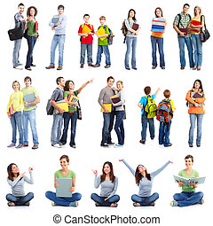 Group of students. Isolated over white background.