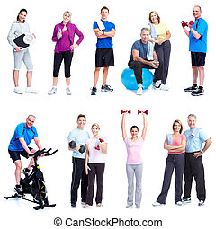 Fitness and gym. - Group of healthy people. Fitness and gym.