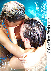 Young couple in jacuzzi. - Young relaxed couple in jacuzzi....