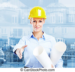 Woman Architect - Young beautiful woman engineer Industrial...