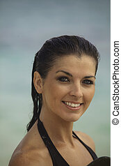 portrait of a beautiful woman at the beach
