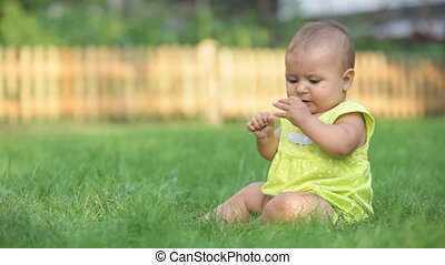 Toddler on lawn