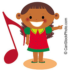 A young girl pointing holding a large musical note