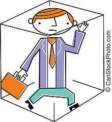 Businessman trapped inside box