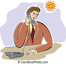 A businessman talking on the telephone with the sun shining