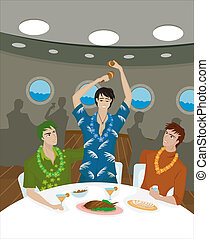 Three men at a dinner table on a cruise ship