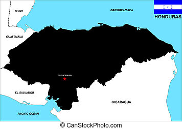honduras map - very big size honduras black map illustration