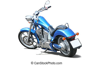 Motorcycle isolated - Blue powerful motorcycle on white...
