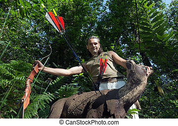 archery Target - smiling archer posing with 3d target