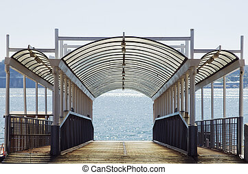 Empty wharf - Empty ferry boat wharf in the Tagus river,...