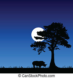 rhino under the tree and moon with blue background