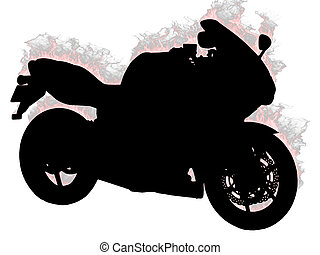 Silhouette motorcycle on a white background Vector...