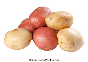 Closeup raw red and white potatoes isolated on white...