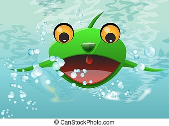 Frog Thing, illustration - Frog Thing, Alien Water Creature,...