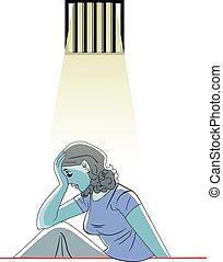 Sad woman in prison, illustration - Sad woman in prison,...