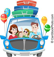 Family Vacation, illustration - Family Vacation, Car with...