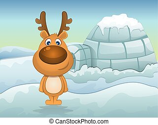 Reindeer in Winter, illustration - Reindeer in Winter, Igloo...