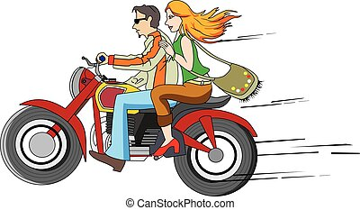 Bike Ride, illustration - Bike Ride, Couple on a Motorcycle,...
