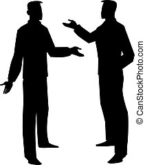 Silhouette of two men talking, illustration - Silhouette of...