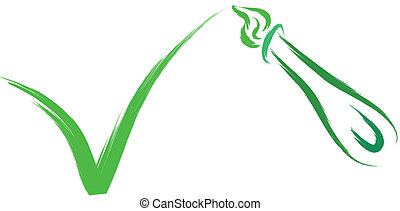 brush and green tick - illustration of brush and green tick...