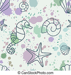 splash-shell-pattern - seamless vector pattern with shells...