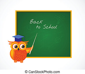 Back to School with smart owl near blackboard - Back to...