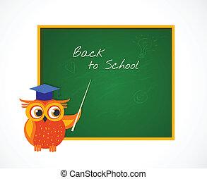 Back to School with smart owl near blackboard