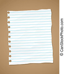 Wrinkled lined paper and note paper. Vector eps 10