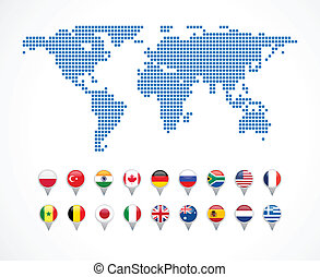 world map with set of navigation icons, vector