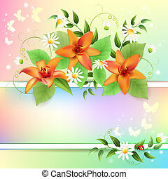 Summer background with beautiful flowers