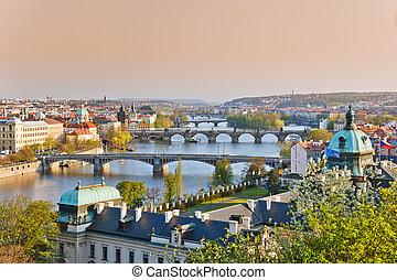 Prague at sunset - View on Prague at sunset