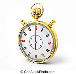 stopwatch - golden stopwatch isolated on a white background