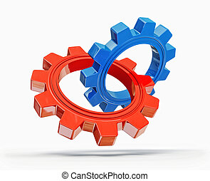 gears - red and blue gears isolated on a white background