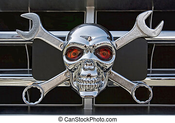 Wrench Skull - Wrench and Skull icon on a grille car