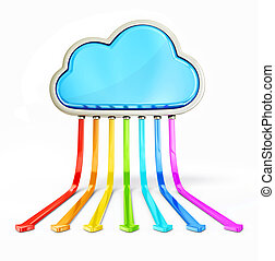 cloud computing - conceptual clound isolated on a white...