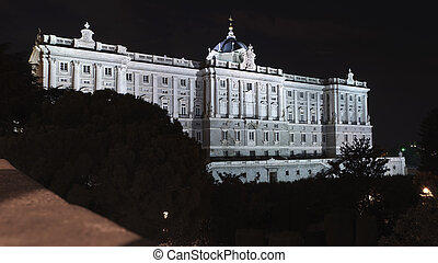 Right wing of royal palace in Madrid - Night view of the...