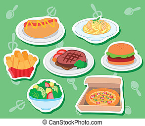 cute food stickers01 - seven cute food stickers with hotdog,...