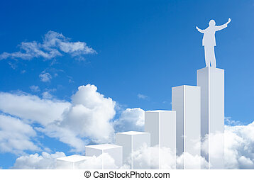 Business man standing on top of a graph bars - Standing in...