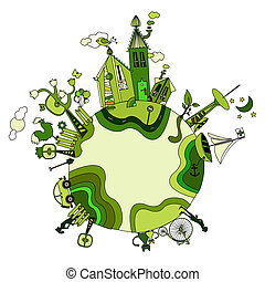 around the green bio world - green cartoon planet with space...
