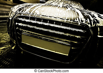 car on car wash - dark prestigious car on car wash