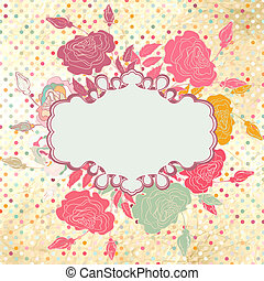 Greeting retro with frame and polka dots. EPS 8