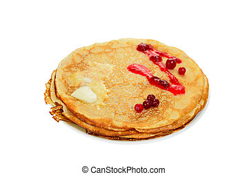Pancake with cranberry - Russian pancake with cranberry and...