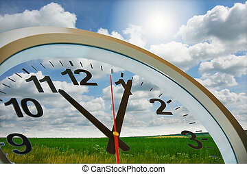 Time to have rest - clock circle against beautiful summer...
