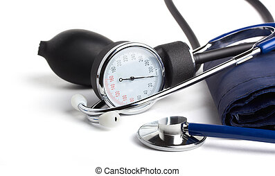 tonometer - stethoscope and tonometer close-up on white