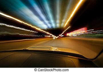 自動車, 都市, 行く, 夜