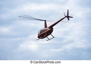 blu, elicottero, cielo