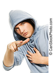 Young handsome man in a hood isolated on white background