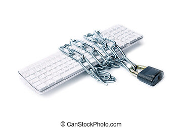 keyboard chain lock - keyboard wound with chain and closed...